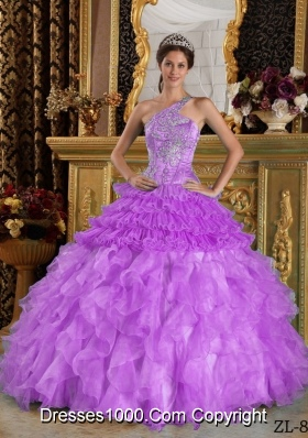 One Shoulder Organza Quinceanera Gowns with Beading and Ruffles