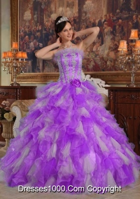 Princess Strapless Organza Sweet 15 Dresses with Ruffles and Appliques