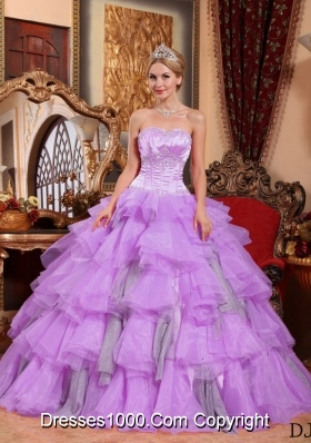 Princess Sweetheart Organza Lilac Sweet Sixteen Dresses with Layers