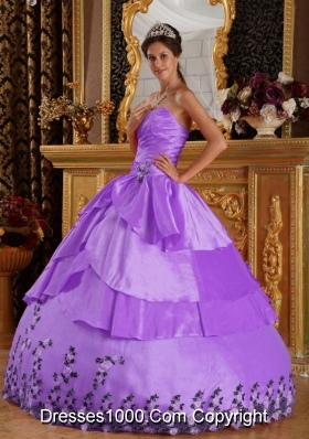 Princess Sweetheart Taffeta Appliques for Lilac Quinceanera Gowns