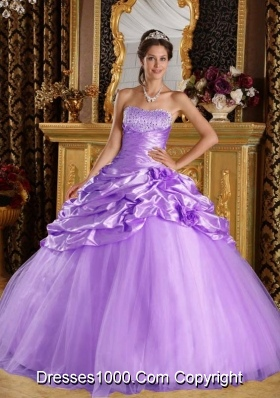 Princess Taffeta and Tulle Pick-ups for Lilac Quinceneara Dresses with Beading