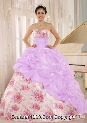 Printing Sweetheart Beaded and Pick-ups For Multi-color Quinceanera Dress