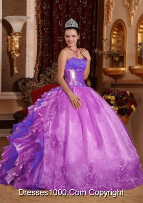Puffy Strapless Lilac 2014 Quinceanera Gowns with Ruffles and Beading