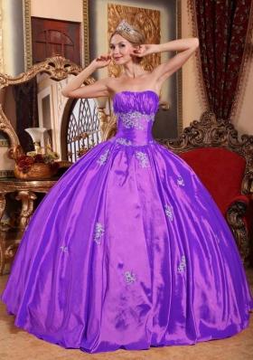 Purple Strapless Taffeta Quinceneara Dresses with Appliques