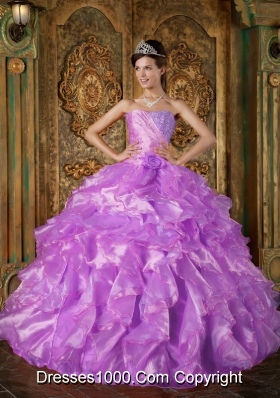 Strapless Beading and Ruffles Quinceanera Dress with Hand Made Flower