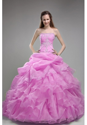 Strapless Orangza Appliques and Ruffles Quinceanera Dress for 2014