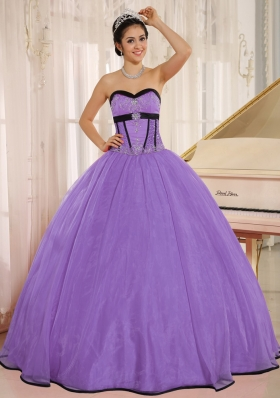 Sweetheart Beaded Decorate Oganza Long Dresses For a Quinceanera