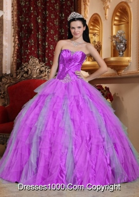 Sweetheart Beading Dresses For a Quinceanera with Ruffles and Ruching