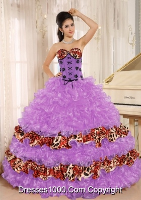 Sweetheart Ruffles and Appliques Quinceanera Dress with Leopard