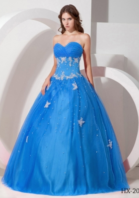 2014 Sweetheart Beading Quinceanera Dress Puffy with Appliques