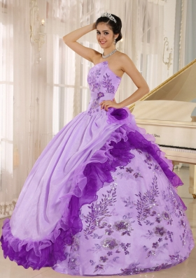 Applqiues and Hand Made Flowers Quinceanera Dress with Taffeta