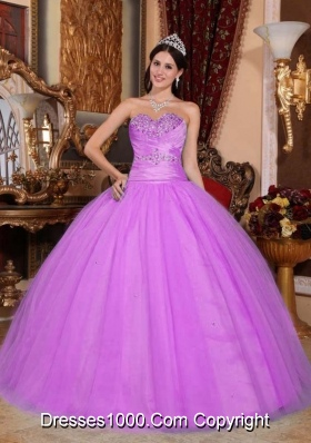 Ball Gown Sweetheart Lilac Quinceneara Dresses with Beading