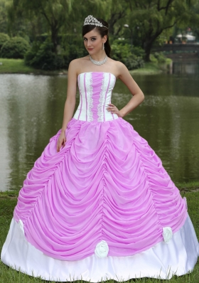 Beautiful Strapless Quinceanera Dress with Lace and Pick-ups
