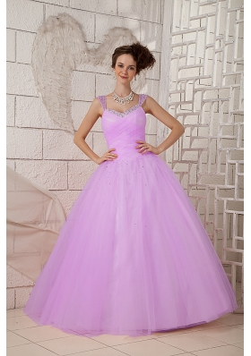 Cheap A-line Lilac Beaded Decorate Straps Tulle Quinceanea Dress