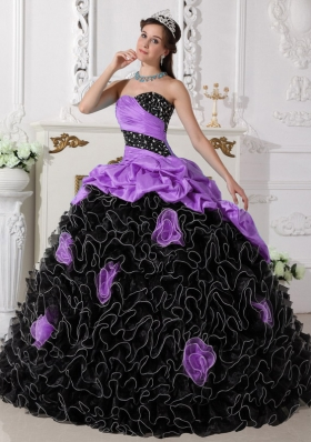 Lilac and Black Sweetheart Organza Beading and Ruffles Sweet 15 Dresses
