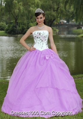 Lilac and White Strapless Quinceanera Dress with Embroidery Decorate