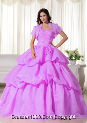 Lilac Ball Gown Strapless Organza Quinceanera Gowns with Hand Made Flowers