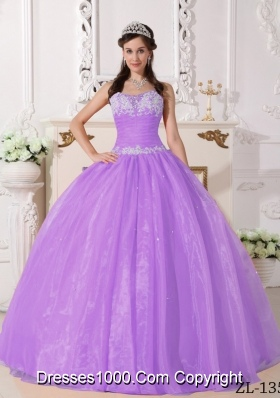 Lilac Ball Gown Strapless Organza Quinceaneras Dress with Appliques