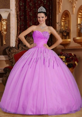 Lilac Ball Gown Sweetheart Tulle Quinceanera Gowns with Beading