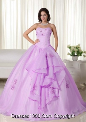 Lilac Strapless Appliqiues and Hand Made Flowers Quinceanera Dress