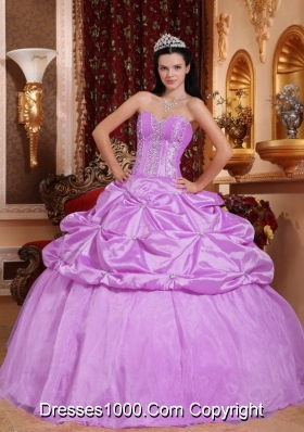 Lilac Sweetheart Taffeta Quinceneara Dresses with Pick-ups and Appliques