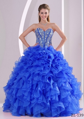 Lovely Ruffles Ball Gown Sweetheart Beaded Decorate Quinceanera Dresses with Beading