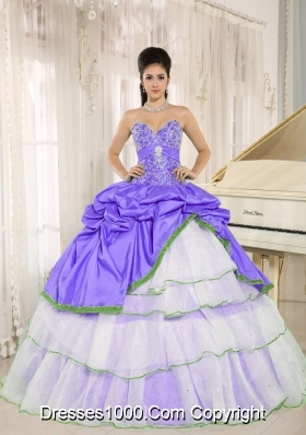 Popular Sweetheart Beaded Decorate Bodice Dress For Quinceanera