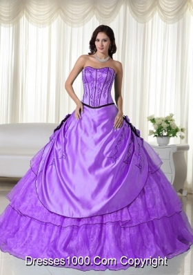 Strapless Organza Quinceanera Gown with Beading and Hand Made Flowres