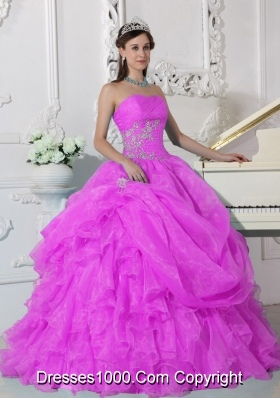 Strapless Organza Sweet Sixteen Dresses with Appliques and Ruffles