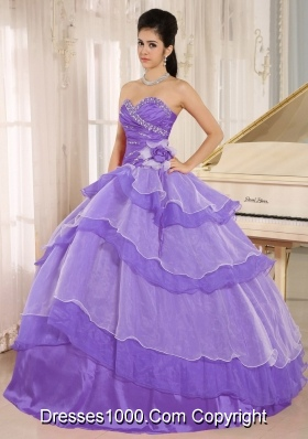 Sweetheart Beaded Decorate and Hand Made Flowers Quinceanera Dress