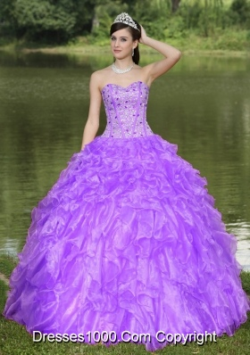 Sweetheart Beaded Drcorate Quinceanera Dress with Ruffled Layers