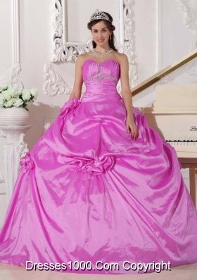 Sweetheart Taffeta Beading and Hand Made Flowers Dresses For a Quince