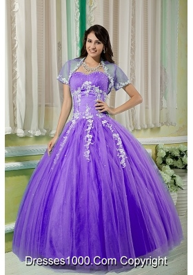 Sweetheart Tulle Full Length Quinceanera Dress with White Appliques