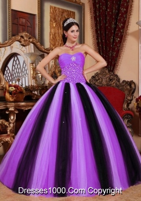 Sweetheart Tulle Lilac and Black Quinceaneras Dress with Beading