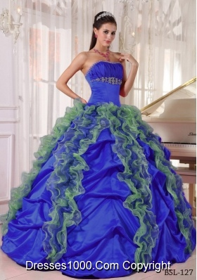 2014 Beautiful Puffy Strapless Beading Quinceanera Dress with Ruffles