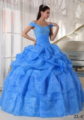 2014 Blue Puffy Off The Shoulder Beading Quinceanera Dress with Pick-ups