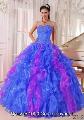 2014 Colourful Puffy Sweetheart  Sequins Quinceanera Dress with Pleats