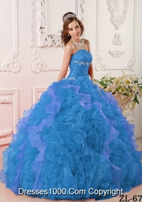 2014 Discount Aqua Blue Sweetheart Puffy Quinceanera Dress with Appliques and Beading