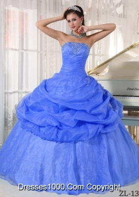 2014 Exclusive Blue Puffy Strapless Appliques Quinceanera Dress with Pick-ups