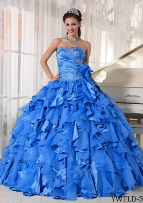 2014 Exquisite Blue Puffy Sweetheart Quinceanera Dress with Beading and Ruffles
