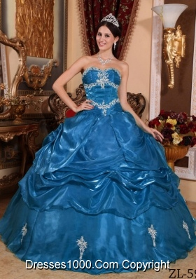 2014 Fashionable Teal Puffy Strapless Appliques Quinceanera Dress