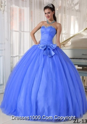 2014 Gorgeous Blue Puffy Sweetheart Quinceanera Dress with Beading and Bowknot