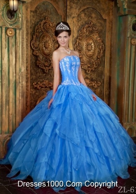 2014 Gorgeous Puffy Strapless in Blue Appliques Quinceanera Dress with Ruffles