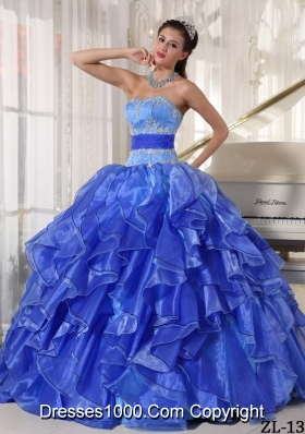 2014 Popular Strapless Puffy Appliques Quinceanera Dress with Ruffles