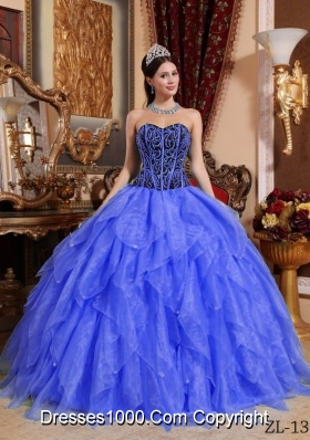 2014 Royal Blue Puffy Sweetheart  Embroidery Quinceanera Dress with Ruffles