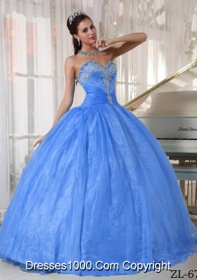 Perfect Baby Blue Sweetheart Puffy Appliques Quinceanera Dress with Beading For 2014