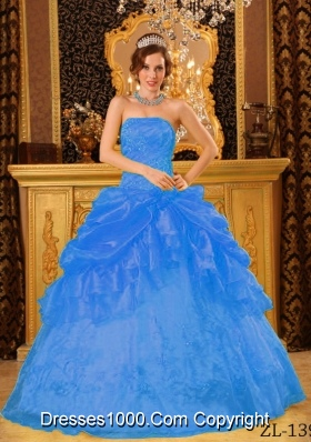 2014 Cute Blue Puffy Strapless Appliques Quinceanera Dress with Beading