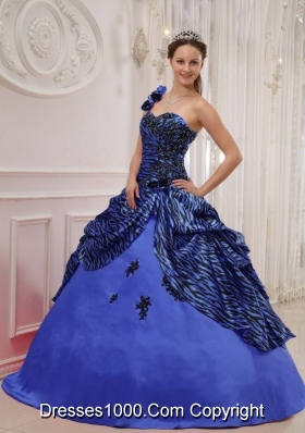 2014 Affordable Blue Puffy One Shoulder Quinceanera Dress with Pick-ups and Appliques