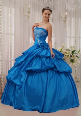 2014 Beautiful Quinceanera Dress in Teal Puffy Strapless with Beading and Pick-ups