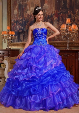 2014 Blue Ball Gown Sweetheart Quinceanera Dress with Ruffles and Beading